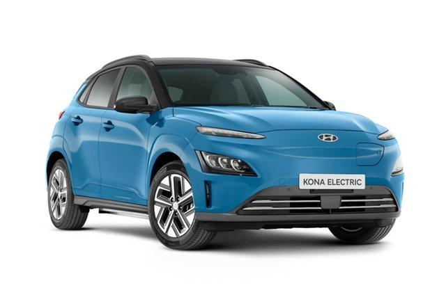 New Hyundai Kona Os.v4 MY21 electric Highlander Nailsworth, 2021 Hyundai Kona Os.v4 MY21 electric Highlander Surfy Blue & Black Roof 1 Speed Reduction Gear