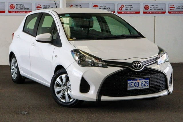 Pre-Owned Toyota Yaris NCP130R MY15 Ascent Myaree, 2015 Toyota Yaris NCP130R MY15 Ascent Glacier White 5 Speed Manual Hatchback