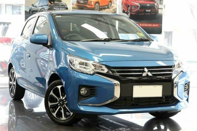 New Mitsubishi Mirage LB MY22 LS Hillcrest, 2021 Mitsubishi Mirage LB MY22 LS Cyber Blue 1 Speed Constant Variable Hatchback