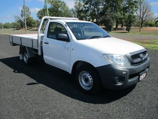 2010 Toyota Hilux TGN16R MY11 Upgrade Workmate Glacier White 5 Speed Manual Cab Chassis.