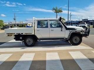 2020 Toyota Landcruiser VDJ79R Workmate Double Cab French Vanilla 5 Speed Manual Cab Chassis.