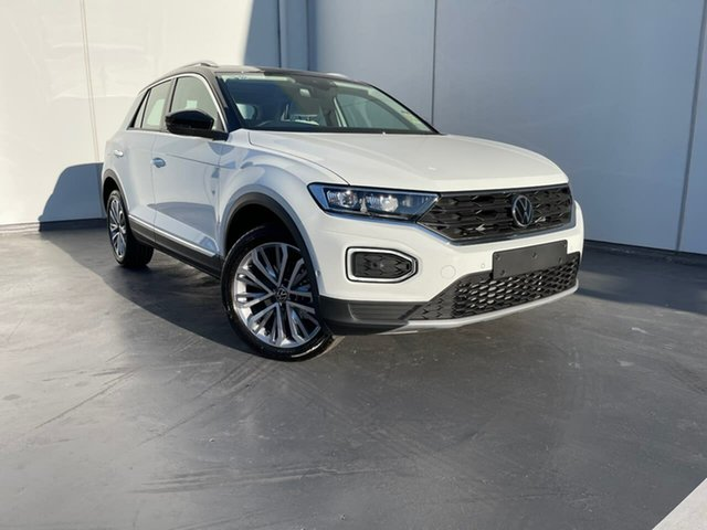 Demo Volkswagen T-ROC A1 MY21 110TSI Style Liverpool, 2021 Volkswagen T-ROC A1 MY21 110TSI Style Pure White/Black Roof 8 Speed Sports Automatic Wagon