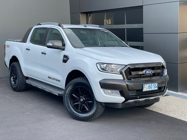 Used Ford Ranger PX MkII Wildtrak Double Cab Moonah, 2017 Ford Ranger PX MkII Wildtrak Double Cab White 6 Speed Manual Utility