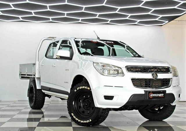Used Holden Colorado RG MY14 LX (4x2) Burleigh Heads, 2013 Holden Colorado RG MY14 LX (4x2) White 6 Speed Manual Crew Cab Chassis