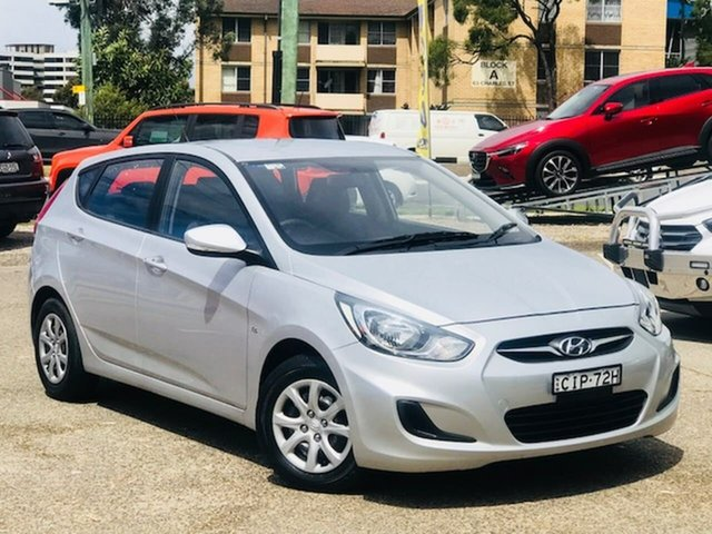 Used Hyundai Accent RB Active Liverpool, 2012 Hyundai Accent RB Active Silver 4 Speed Sports Automatic Hatchback