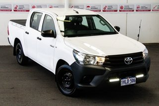 2017 Toyota Hilux TGN121R MY17 Workmate Glacier White 6 Speed Automatic Dual Cab Utility.