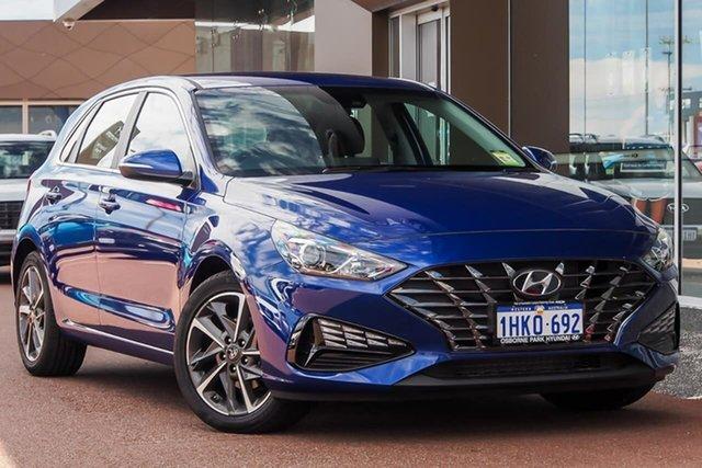 Demo Hyundai i30 PD.V4 MY21 Elite Osborne Park, 2021 Hyundai i30 PD.V4 MY21 Elite Intense Blue 6 Speed Sports Automatic Hatchback