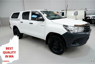 2018 Toyota Hilux GUN125R Workmate Double Cab White 6 Speed Sports Automatic Utility.