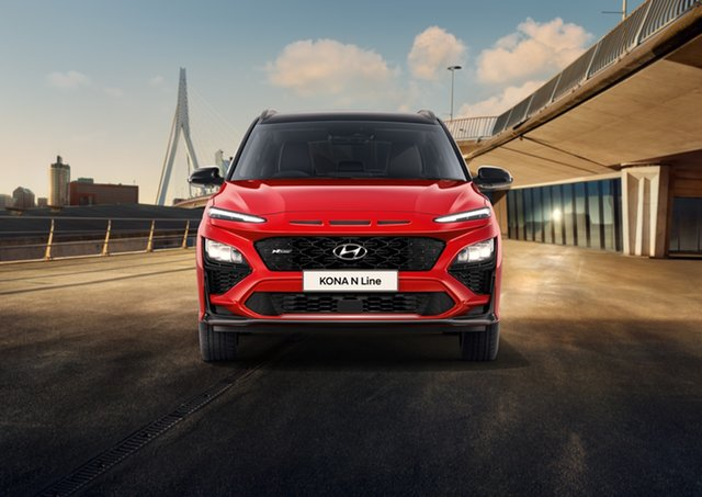 New Hyundai Kona Os.v4 MY21 N-Line D-CT AWD Geelong, 2021 Hyundai Kona Os.v4 MY21 N-Line D-CT AWD Ignite Flame 7 Speed Automatic Wagon