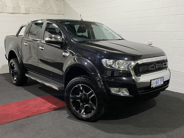 Used Ford Ranger PX MkII XLT Double Cab Glenorchy, 2016 Ford Ranger PX MkII XLT Double Cab Black 6 Speed Manual Utility