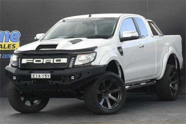 Used Ford Ranger PX XLT Double Cab 4x2 Hi-Rider Campbelltown, 2012 Ford Ranger PX XLT Double Cab 4x2 Hi-Rider White 6 Speed Sports Automatic Utility
