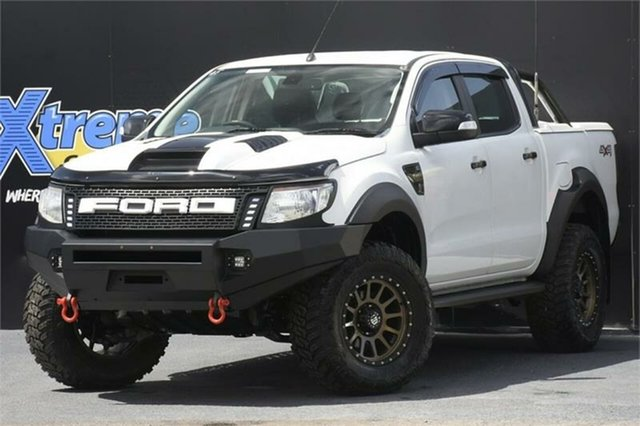 Used Ford Ranger PX XLT Double Cab Campbelltown, 2014 Ford Ranger PX XLT Double Cab White 6 Speed Sports Automatic Utility