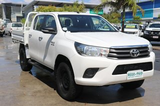 2017 Toyota Hilux GUN126R SR Double Cab White 6 speed Automatic Cab Chassis.
