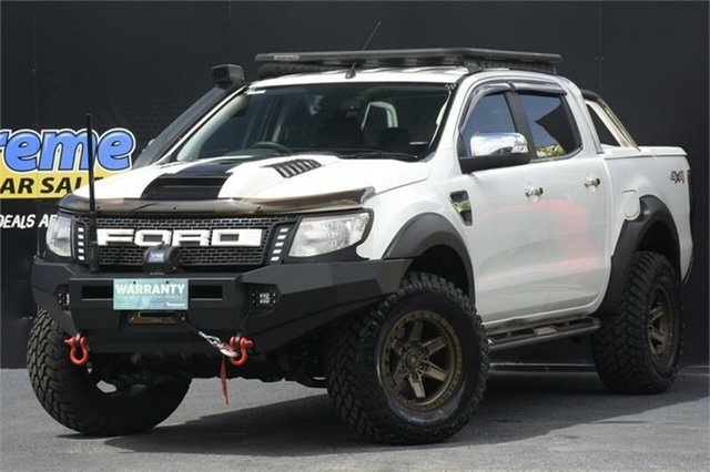 Used Ford Ranger PX XLT Double Cab Campbelltown, 2013 Ford Ranger PX XLT Double Cab White 6 Speed Manual Utility