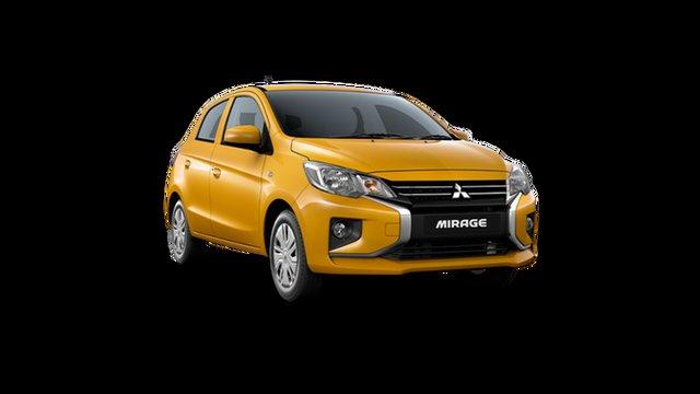 New Mitsubishi Mirage LB MY22 ES Hamilton, 2021 Mitsubishi Mirage LB MY22 ES Sand Yellow 1 Speed Constant Variable Hatchback