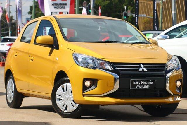 New Mitsubishi Mirage LB MY22 ES Parramatta, 2021 Mitsubishi Mirage LB MY22 ES Sand Yellow 1 Speed Constant Variable Hatchback