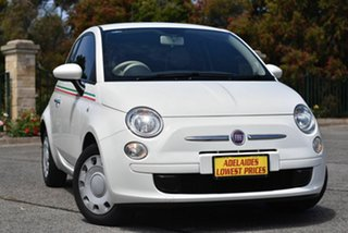 2014 Fiat 500 Series 1 Pop Dualogic White 5 Speed Sports Automatic Single Clutch Hatchback.