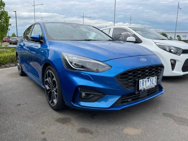 Used Ford Focus SA 2019.25MY ST-Line Essendon Fields, 2018 Ford Focus SA 2019.25MY ST-Line Blue 8 Speed Automatic Hatchback