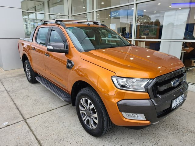 Used Ford Ranger PX MkII Wildtrak Double Cab Ferntree Gully, 2016 Ford Ranger PX MkII Wildtrak Double Cab Orange 6 Speed Sports Automatic Utility