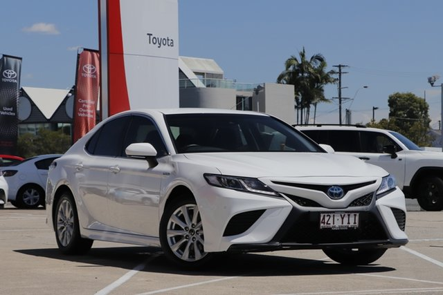 Pre-Owned Toyota Camry AXVH71R Ascent Sport Albion, 2018 Toyota Camry AXVH71R Ascent Sport Glacier White 6 Speed Constant Variable Sedan Hybrid