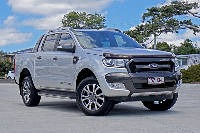 Used Ford Ranger PX MkII Wildtrak Double Cab Capalaba, 2017 Ford Ranger PX MkII Wildtrak Double Cab Ingot Silver 6 Speed Sports Automatic Utility