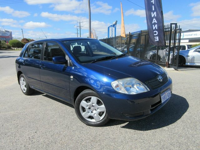 Used Toyota Corolla ZZE122R Conquest Seca Wangara, 2002 Toyota Corolla ZZE122R Conquest Seca Blue 5 Speed Manual Hatchback