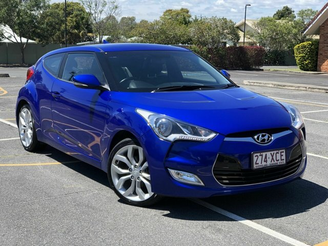 Used Hyundai Veloster FS2 Coupe Chermside, 2013 Hyundai Veloster FS2 Coupe Blue 6 Speed Manual Hatchback
