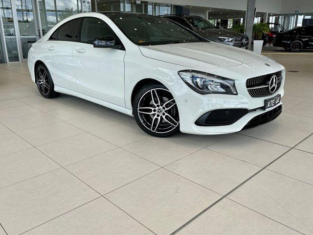 Used Mercedes-Benz CLA-Class C117 808+058MY CLA200 DCT Essendon Fields, 2018 Mercedes-Benz CLA-Class C117 808+058MY CLA200 DCT White 7 Speed Sports Automatic Dual Clutch
