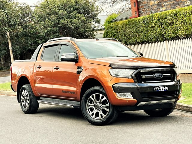 Used Ford Ranger PX MkII Wildtrak Double Cab Hyde Park, 2015 Ford Ranger PX MkII Wildtrak Double Cab Orange 6 Speed Sports Automatic Utility