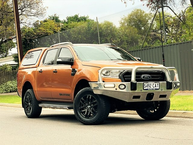 Used Ford Ranger PX MkIII 2020.25MY Wildtrak Hyde Park, 2019 Ford Ranger PX MkIII 2020.25MY Wildtrak Orange 10 Speed Sports Automatic Double Cab Pick Up