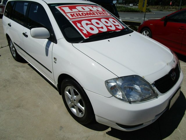 Used Toyota Corolla ZZE122R Ascent Springwood, 2002 Toyota Corolla ZZE122R Ascent White 5 Speed Manual Wagon