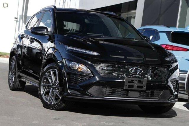 New Hyundai Kona Os.v4 MY21 N-Line D-CT AWD Nailsworth, 2021 Hyundai Kona Os.v4 MY21 N-Line D-CT AWD Phantom Black 7 Speed Sports Automatic Dual Clutch