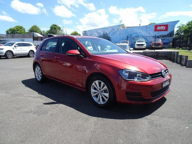 Used Volkswagen Golf VII MY14 90TSI DSG Comfortline Nowra, 2013 Volkswagen Golf VII MY14 90TSI DSG Comfortline Sunset Red 7 Speed Automatic Hatchback