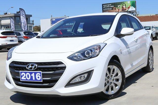 Used Hyundai i30 GD4 Series II MY17 Active Coburg North, 2016 Hyundai i30 GD4 Series II MY17 Active White 6 Speed Sports Automatic Hatchback