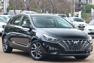 2021 Hyundai i30 PD.V4 MY21 Elite Phantom Black Pearl 6 Speed Sports Automatic Hatchback.
